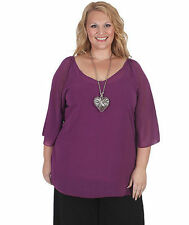 Plus Size Chiffon Solid Long Sleeve Tops & Blouses for Women