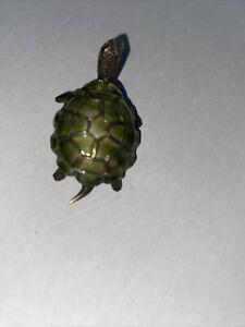 Green Enamel Turtle Brooch