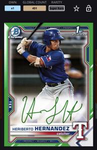Topps MLB Bunt DIGITAL 21 Bowman Chrome Green Sig Super Rare Heriberto Hernandez