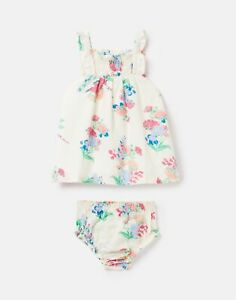 Joules Baby Girls Linbury Woven Dress And Knicker Set  - White Floral