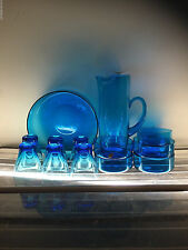6 x Vintage CUPS / GLASSES & TALL JUG Aqua Blue Polish Glass 60s blue glass old