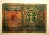 100 Kronen ,Austria Hungary banknote,1912,Ultra Rare,2 stamps,numbered stamp 664