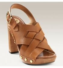 NIB Tory Burch Jodie Woven Braided Cognac Sandal Platform Heels US8.5 EU39.5 UK6