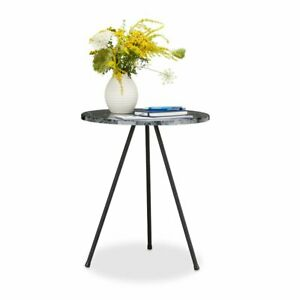Relaxdays Marble Look 3-Leg Round Side Table Grey, 47cm H