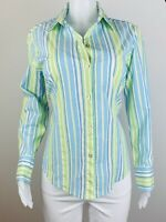 Chicos Women Size 2 Striped Button Long Sleeves Blouse Top Shirt