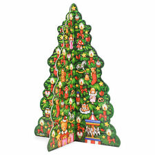 Festive Green 3-D Holiday Tree 13.5x10.5 Wood Tabletop Advent Countdown Calendar