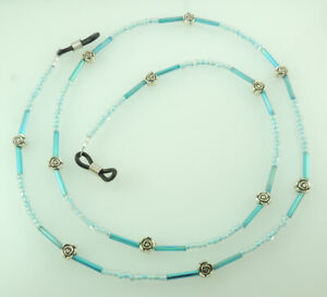 Eye Glass Holder Seed Bugle Beads and Roses Turquoise Handcrafted