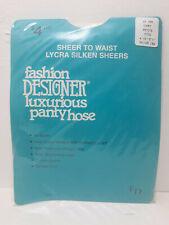 Fashion Designer Vintage Lycra Silken Sheer Pantyhose, Sandalfoot, Ivory, Petite