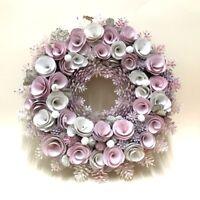 New 34cm Christmas Boxwood Pine Cone Wreath Pink Xmas Wreath Door Decor