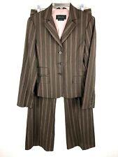 BCBGMaxazria 2 Pc Pinstripe Pant Suit Womens S Brown Wool Blend Career Business