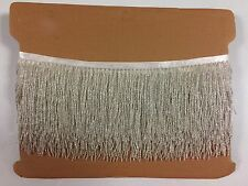 "By the Yard-4"" Glass Silver Seed Bead Beaded Fringe Lamp Costume Trim"