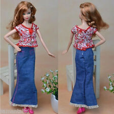 Handmade Doll Clothing for Barbie Doll T-shirt Jeans Dress Outfits Doll Clothes