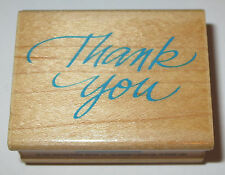 Thank You Rubber Stamp Cursive Thanks Hero Arts D337 Wood Mounted Sayings
