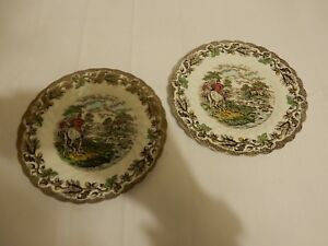 Two Vintage Myotts Country Life Large Side Plates Hunting Scenes Good