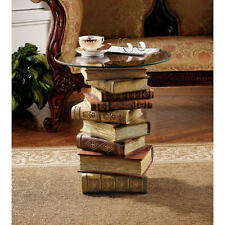 Artistically Stacked Books Glass Top Side End Table Library Den Reading NEW
