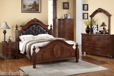 Modern 4 Pc Bedroom Set Est King Size Bed Mirror Dresser & Nightstand Furniture