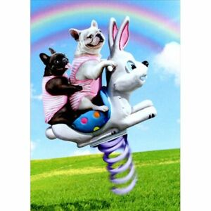 Avanti Press Dogs Riding Bunny Toy Funny Bulldog Easter Card