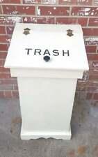 "Vintage Wood Kitchen Trash Can Antique White Covered Lid 29"""