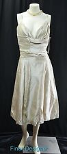 Lazaro champagne Taffeta Evening Gown Dress wedding bride fit flare Size 12 NWT