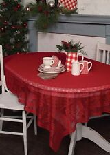 """Tablecloth 70"""" x 90"""" - Holly Vine in Red by Heritage Lace - Christmas"""