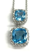 Elegant Sterling Silver Swiss Blue Topaz - CZ Pave Halo Cushion Drop Necklace