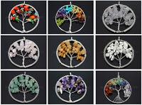Natural Gemstone Reiki Chakra Chip Beads Tree of Life  Healing Pendant Charm