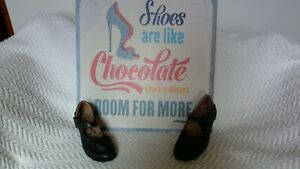 Romika Cassie Black Leather Mary Jane Comfort Shoes Hook & Loop Womens 38 8 NWOB
