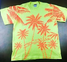 True Vintage 80s 90s Morey Boogie Boards Bright Neon Yellow Palm Tree T-Shirt XL