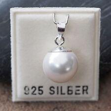 NEU 925 Silber KETTENANHÄNGER mit 12mm GLASPERLE in weiß ANHÄNGER PERLEN