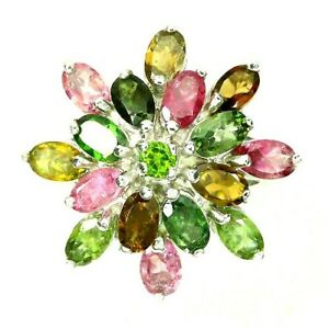 Ring Mixed Tourmaline and Green Chrome Diopside Sterling Silver Size R 1/2 US 9