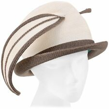 61a65554495 YVES SAINT LAURENT c.1960's YSL Off White Taupe Straw Sculptural Leaf  Cloche Hat