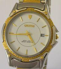 CROTON Herren-Armbanduhr / Quarz / Edelstahl - zum Teil 23 Karat vergoldet