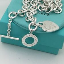 Please Return to Tiffany & Co Silver Heart Tag Toggle Necklace NEW VERSION