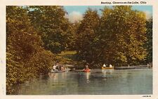 GENEVA ON THE LAKE OHIO BOATING IN CANOES~PRE LINEN POSTCARD 1936