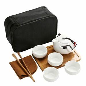 Ceramic Chinese Kung Fu Travel Tea Set Portable Porcelain Gaiwan Teapot Cup Tool