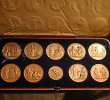 LOUIS XVIII 19c Bronze Medal Collection in Box