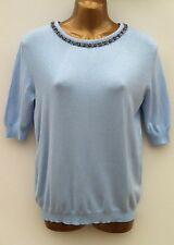 ATMOSPHERE Beaded Embellished Neck Top Size UK 8 Thin Knit Jumper Blue WORN ONCE