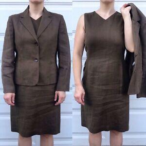 Talbots Brown 2 Piece Suit Dress Jacket Sz 10 Irish Linen Office Workwear