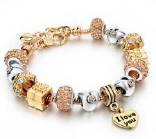European Heart Charm Bracelet Gold Don & Abie (DA231)