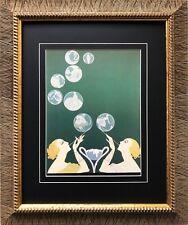 """Erte """"The Bubbles"""" Newly CUSTOM FRAMED Print Art Deco Design"""