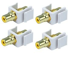 4x Yellow RCA Audio Video Gold Female Coupler Snap-in Keystone Jack Insert White