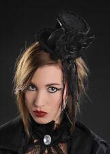 Ladies Gothic Vampire Black Mini Top Hat