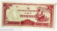 1942 Burma Bank Note Japan Occupation P11b 10 Rupees UNC No Watermark Narrow