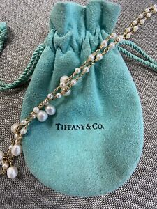 Tiffany & Co 18K Gold Pearl Necklace 19in