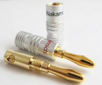 10pcs Nakamichi Gold Plated Speaker 4mm Banana Male Plug Audio DIY Connector