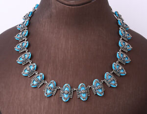 88 GRAMS MARCASITE TURQUOISE .925 SOLID STERLING SILVER NECKLACE #31971