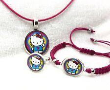 Conjunto bisuteria Hello Kitty fucsia pulsera mas colgante y anillo