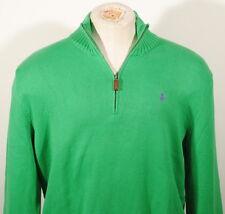 Polo Ralph Lauren Green 1/2 Zip Pullover Sweater Purple Pony Sz. XL $115 F2E