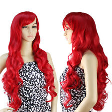 "32"" 80cm Long Heat Resistant Big Spiral Curl Red Cosplay Full Wig for Women"