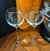 "LENOX CRYSTAL ""SOLITAIRE Platinum Signature"" PATTERN WINE GLASS 8.5"" - Lot of 2"